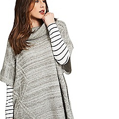 Celuu - Grey 'Alba' cable knit poncho
