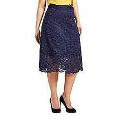 Celuu - Navy 'Alison' floral lace A-line skirt