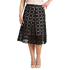 Celuu - Black and nude 'Alison' geo lace A-line skirt