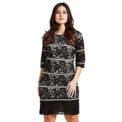 Celuu - Black and nude 'Heidi' pleated lace dress