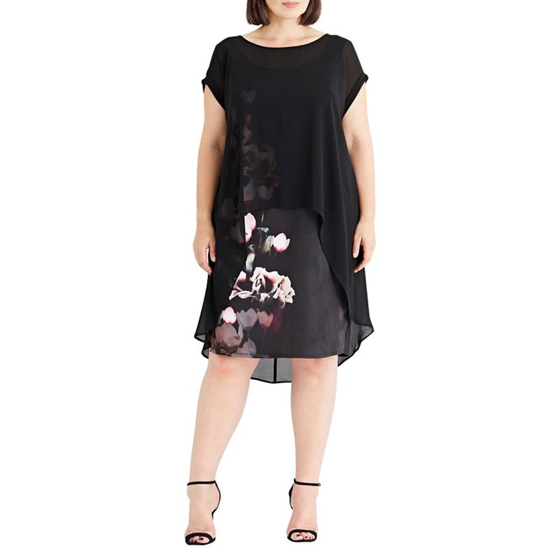 Plus Size Live Unlimited Border Rose Print Chiffon Overlay