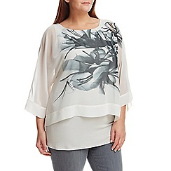 Live Unlimited - Abstract floral chiffon overlay top