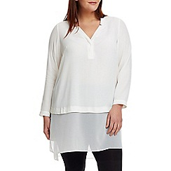 Live Unlimited - White blouse with chiffon mix