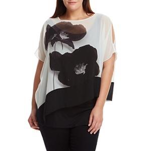 Live Unlimited Black and white poppy print kaftan
