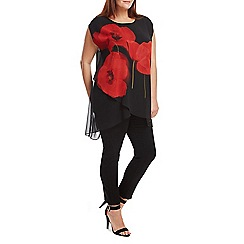 Live Unlimited - Black oversized poppy print top