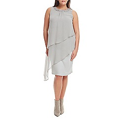 Live Unlimited - Silver chiffon tiered dress with trim
