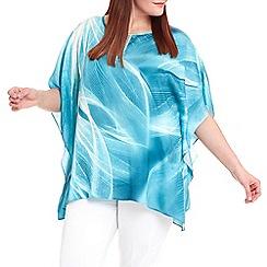 Live Unlimited - Turquoise whispy leaf kaftan top