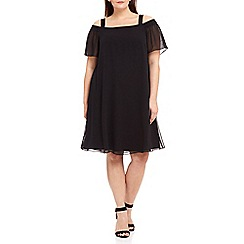 Live Unlimited - Black bardot chiffon swing dress