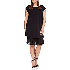Live Unlimited - Black pleat hem jersey tee shirt dress
