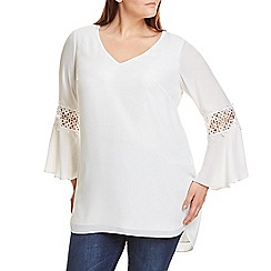 Live Unlimited - Ivory crochet sleeves detail top