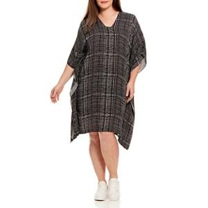 Live Unlimited Mono check kaftan dress