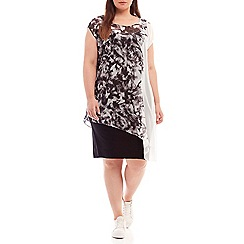 Live Unlimited - Abstract feather print overlay dress