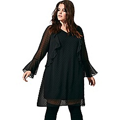 Live Unlimited - Black dobby frill dress