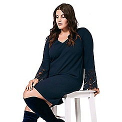Live Unlimited - Navy crepe dress with lace sleeves
