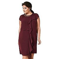Live Unlimited - Merlot trimmed front frill dress