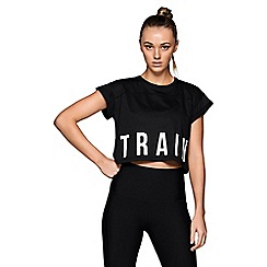 Lorna Jane - Black 'Train Insane' short sleeve tee