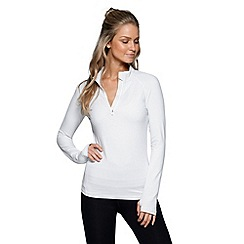 Lorna Jane - White 'Stripe Unwind' half zip through