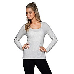 Lorna Jane - Snow grey going places long sleeves top