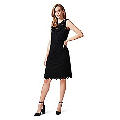 James Lakeland - Black sleeveless lace dress with ruffle front