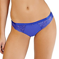 Lisca - Royal Blue lace and jacquard detail bikini briefs