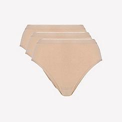 Ten Cate - 3 pack tan cotton seamless high leg knickers
