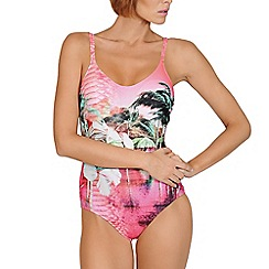 Lisca - Pink paradise print  foam cups swimsuit