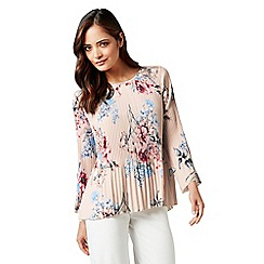 James Lakeland - Pale pink floral print pleated top