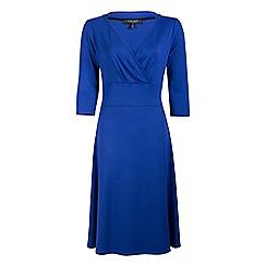 Fever - Blue jersey 'Andrea' v-neck wrap dress