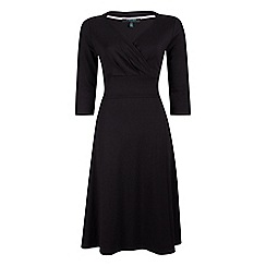 Fever - Black jersey 'Andrea' v-neck wrap dress