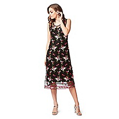 James Lakeland - Black dress with floral embroidered overlay