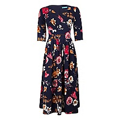 Fever - Multicoloured floral print 'Elodie' v-neck dress