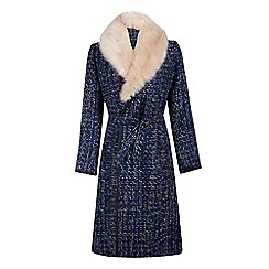 Fever - Blue 'Enid' coat with faux fur collar