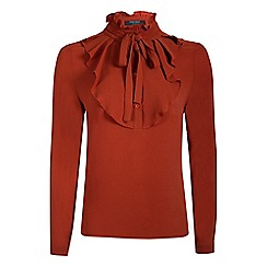 Fever - Orange 'Iris' high neck long sleeves blouse