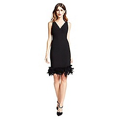 Little Black Dress - Black 'Audrey' feather trim midi dress