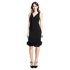 Little Black Dress - Black 'Audrey' rose trim dress