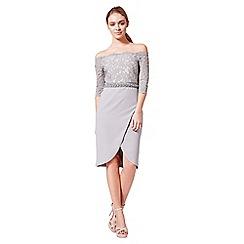 Little Black Dress - Grey 'Evie' lace bardot tulip dress