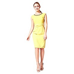 Little Black Dress - Yellow 'Holly' lace and crepe pencil dress