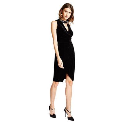 Little Black Dress Black Isabella velvet embellished wrap