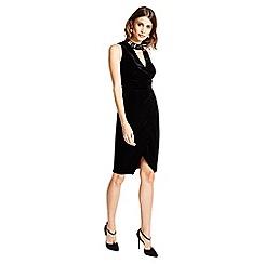 Little Black Dress - Black 'Isabella' velvet embellished wrap dress