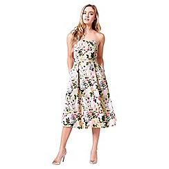 Little Black Dress - White 'Jenna' floral bandeau midi dress