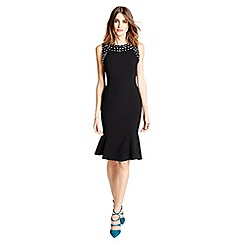 Little Black Dress - Black 'Keira' embellished midi dress with peplum hem
