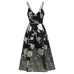 Alesha Dixon - Silver sheer prom floral midi dress