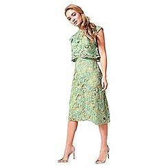 Little Black Dress - Green 'Sally' jacquard 2 in 1 dress