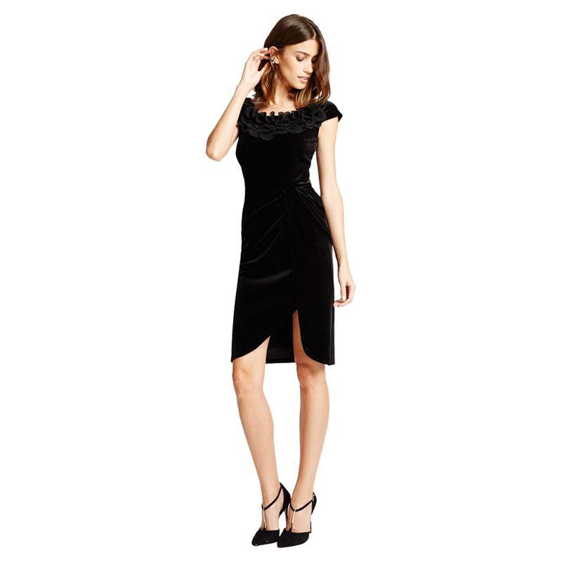 Little Black Dress Black selena Velvet Bardot Wrap Dress,