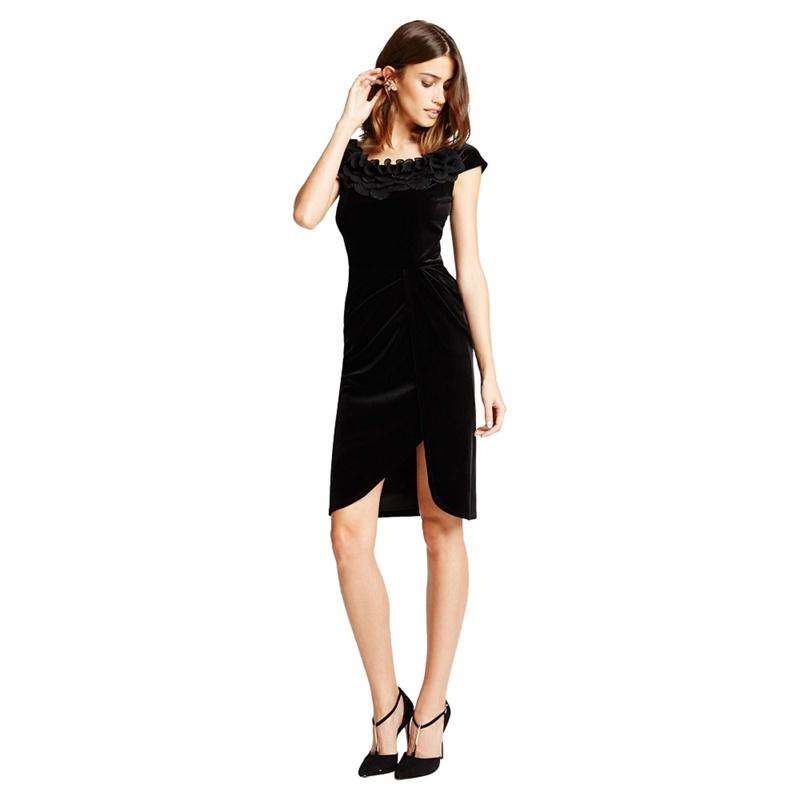 Little Black Dress Black 'selena' Velvet Bardot Wrap Dress