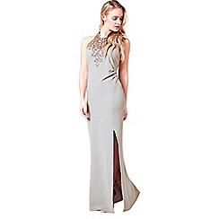 Little Black Dress - Grey 'Vanessa' embellished halter maxi dress