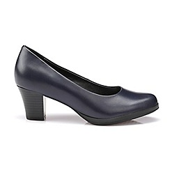 Hotter - Navy leather 'Angelica' mid heel shoes