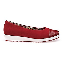 Hotter - Red suede 'Angel' dual fit pumps