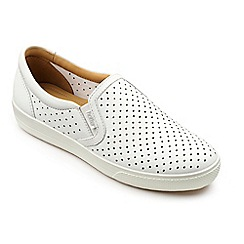 Hotter - White leather 'Daisy' slip on trainers
