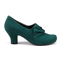Hotter - Dark green suede 'Donna' wide fit court shoes